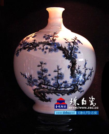 珠白瓷 花瓶 梅花
